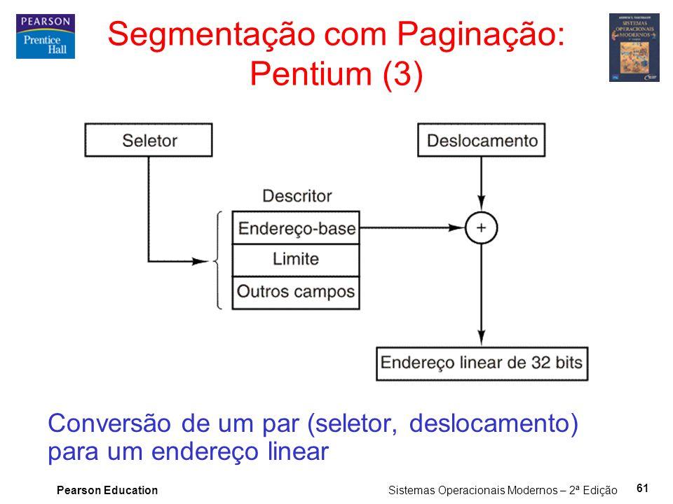 Pearson Education Sistemas Operacionais Modernos – 2ª Edição 61 Segmentação com Paginação: Pentium (3) Conversão de um par (seletor, deslocamento) para um endereço linear