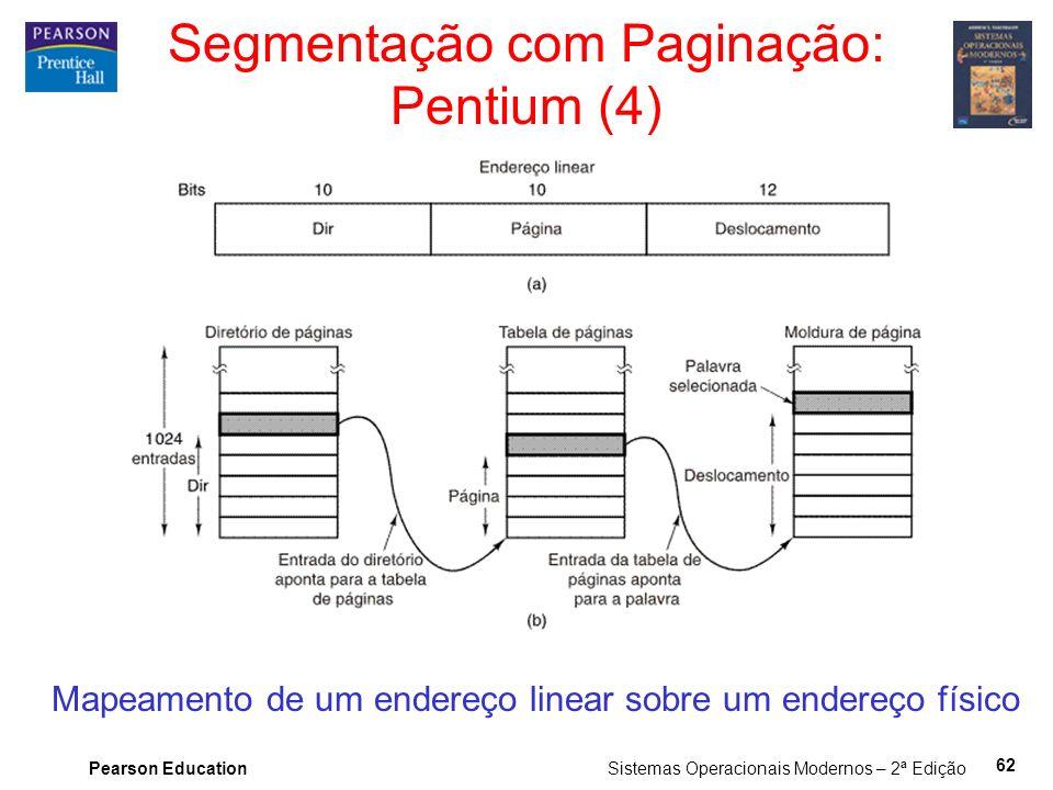 Pearson Education Sistemas Operacionais Modernos – 2ª Edição 62 Segmentação com Paginação: Pentium (4) Mapeamento de um endereço linear sobre um ender