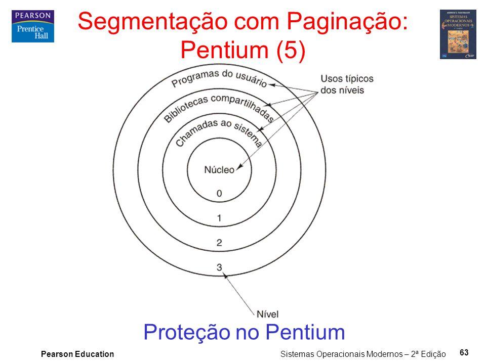 Pearson Education Sistemas Operacionais Modernos – 2ª Edição 63 Segmentação com Paginação: Pentium (5) Proteção no Pentium