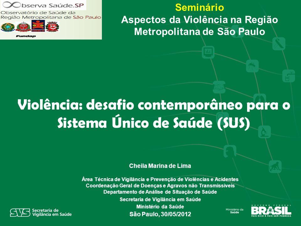 Seminário Aspectos da Violência na Região Metropolitana de São Paulo Cheila Marina de Lima Área Técnica de Vigilância e Prevenção de Violências e Acid