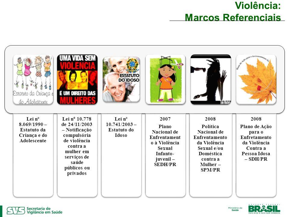 Violência: Marcos Referenciais Lei nº 8.069/1990 – Estatuto da Criança e do Adolescente Lei n o 10.778 de 24/11/2003 – Notificação compulsória de viol