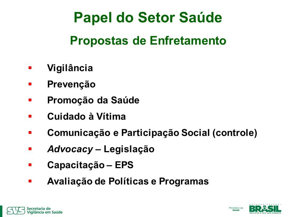 Vigilância Prevenção Promoção da Saúde Cuidado à Vítima Comunicação e Participação Social (controle) Advocacy – Legislação Capacitação – EPS Avaliação