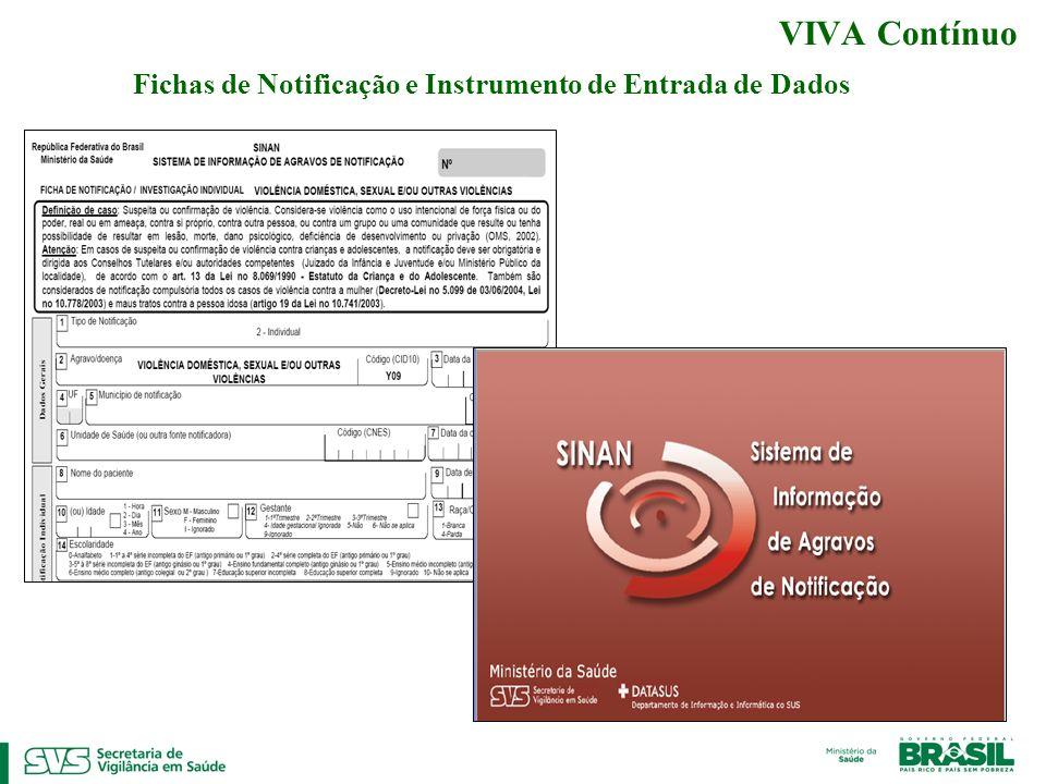 Fichas de Notificação e Instrumento de Entrada de Dados VIVA Contínuo