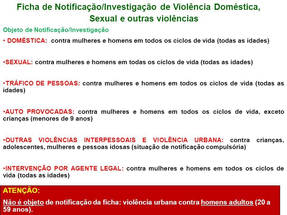 Ficha de Notificação/Investigação de Violência Doméstica, Sexual e outras violências Objeto de Notificação/Investigação DOMÉSTICA: contra mulheres e h