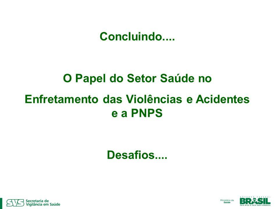 Concluindo.... O Papel do Setor Saúde no Enfretamento das Violências e Acidentes e a PNPS Desafios....