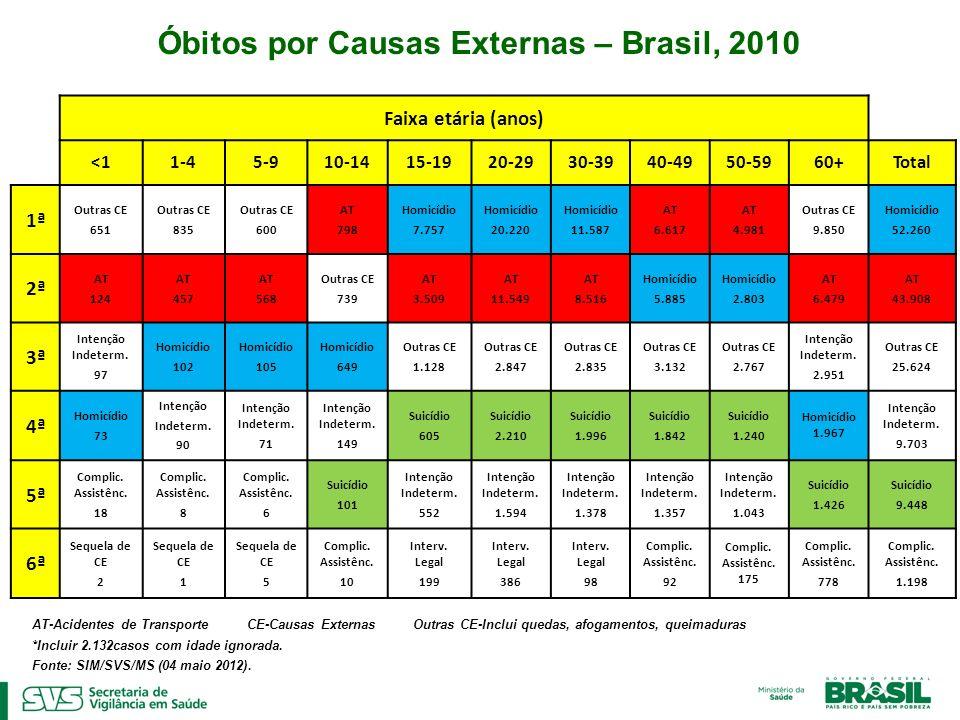 Óbitos por Causas Externas – Brasil, 2010 AT-Acidentes de Transporte CE-Causas Externas Outras CE-Inclui quedas, afogamentos, queimaduras *Incluir 2.1
