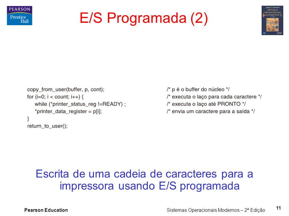 Pearson Education Sistemas Operacionais Modernos – 2ª Edição 11 E/S Programada (2) Escrita de uma cadeia de caracteres para a impressora usando E/S pr