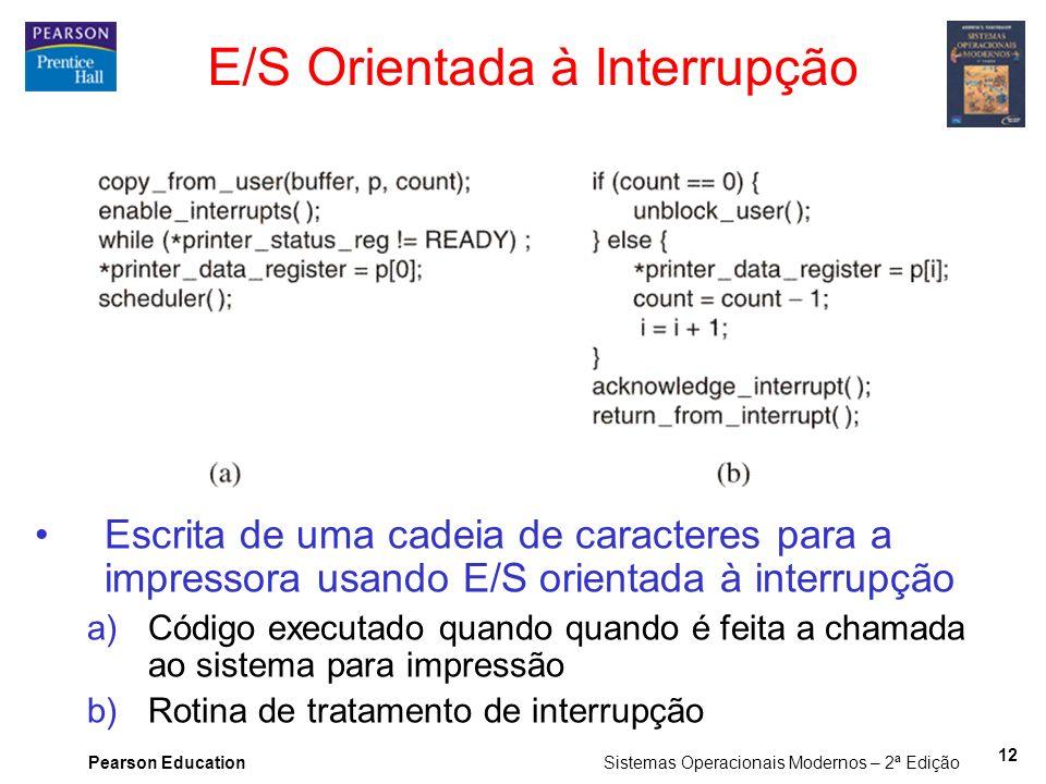 Pearson Education Sistemas Operacionais Modernos – 2ª Edição 12 E/S Orientada à Interrupção Escrita de uma cadeia de caracteres para a impressora usan