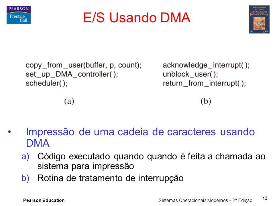 Pearson Education Sistemas Operacionais Modernos – 2ª Edição 13 E/S Usando DMA Impressão de uma cadeia de caracteres usando DMA a)Código executado qua