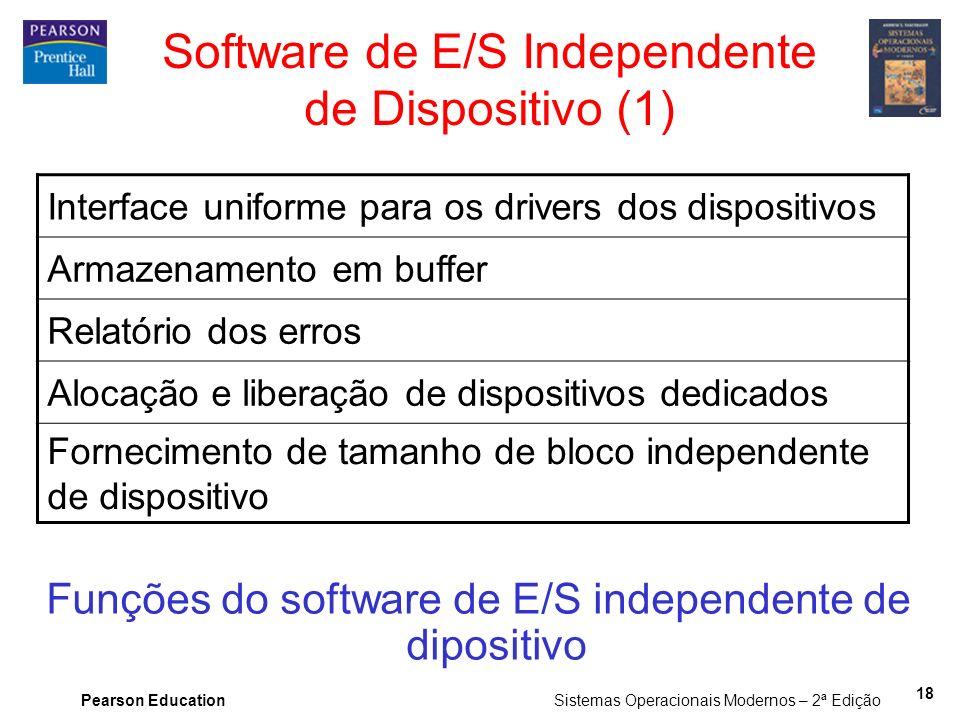 Pearson Education Sistemas Operacionais Modernos – 2ª Edição 18 Software de E/S Independente de Dispositivo (1) Funções do software de E/S independent
