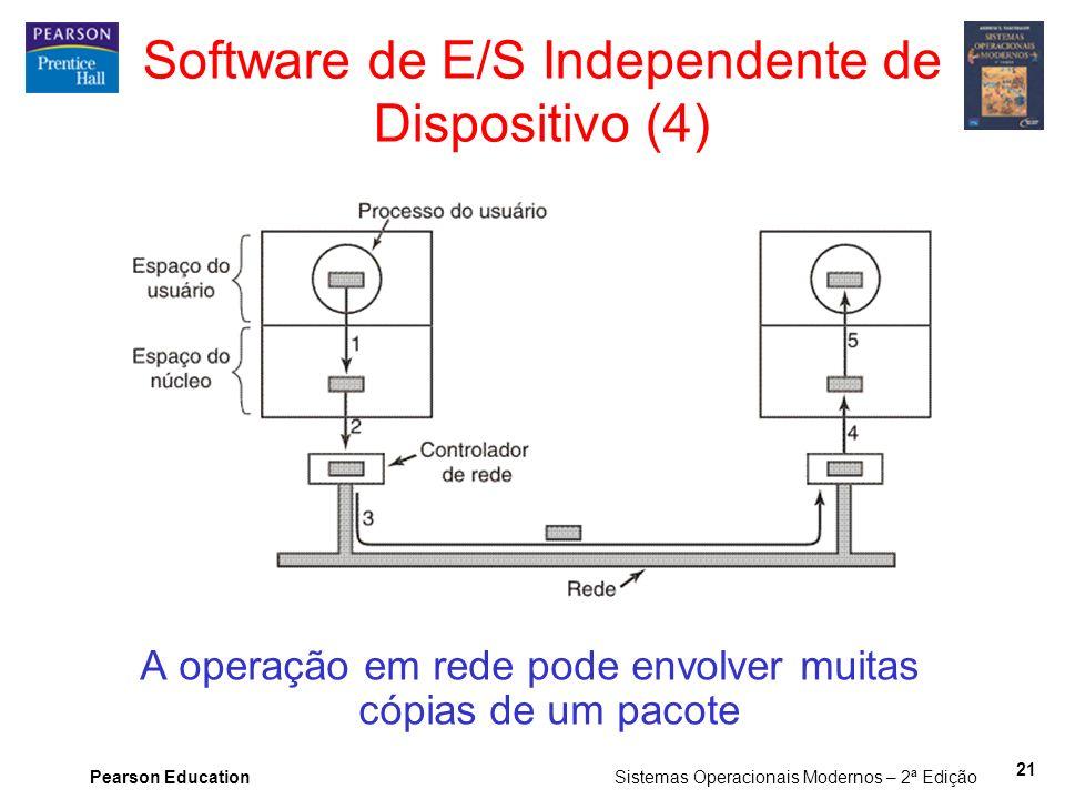 Pearson Education Sistemas Operacionais Modernos – 2ª Edição 21 Software de E/S Independente de Dispositivo (4) A operação em rede pode envolver muita
