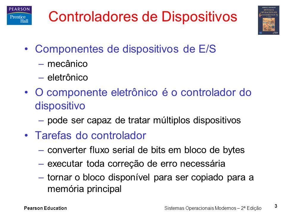 Pearson Education Sistemas Operacionais Modernos – 2ª Edição 3 Controladores de Dispositivos Componentes de dispositivos de E/S –mecânico –eletrônico