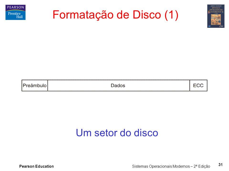 Pearson Education Sistemas Operacionais Modernos – 2ª Edição 31 Formatação de Disco (1) Um setor do disco