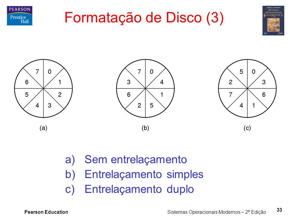 Pearson Education Sistemas Operacionais Modernos – 2ª Edição 33 Formatação de Disco (3) a)Sem entrelaçamento b)Entrelaçamento simples c)Entrelaçamento