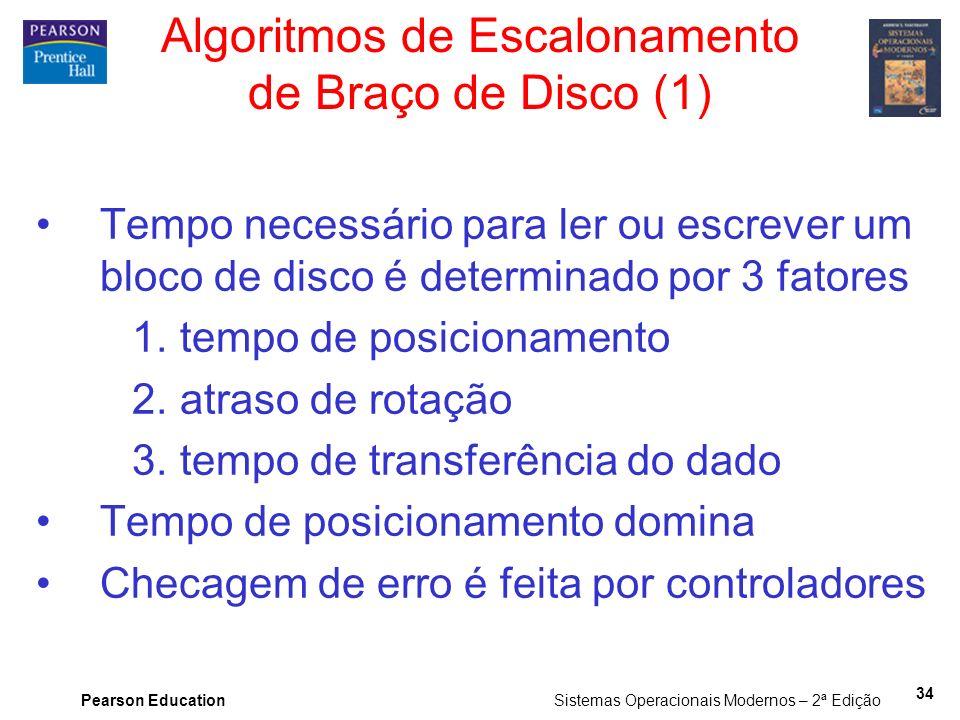 Pearson Education Sistemas Operacionais Modernos – 2ª Edição 34 Algoritmos de Escalonamento de Braço de Disco (1) Tempo necessário para ler ou escreve