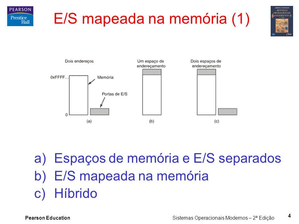 Pearson Education Sistemas Operacionais Modernos – 2ª Edição 4 E/S mapeada na memória (1) a)Espaços de memória e E/S separados b)E/S mapeada na memóri