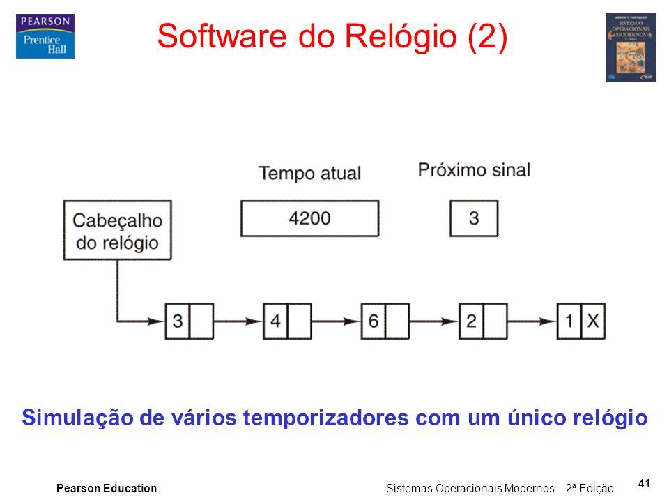 Pearson Education Sistemas Operacionais Modernos – 2ª Edição 41 Software do Relógio (2) Simulação de vários temporizadores com um único relógio