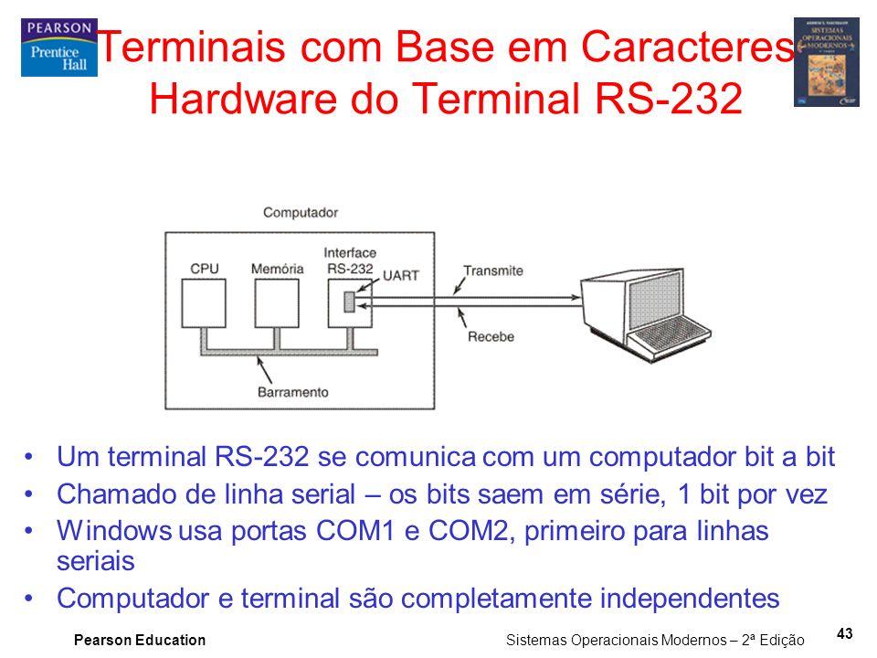 Pearson Education Sistemas Operacionais Modernos – 2ª Edição 43 Terminais com Base em Caracteres Hardware do Terminal RS-232 Um terminal RS-232 se com