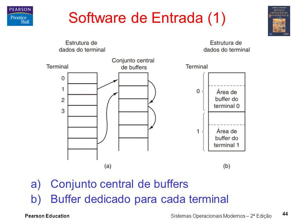 Pearson Education Sistemas Operacionais Modernos – 2ª Edição 44 a)Conjunto central de buffers b)Buffer dedicado para cada terminal Software de Entrada