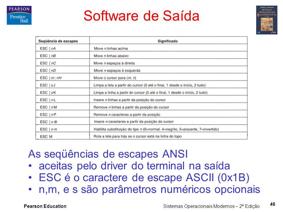 Pearson Education Sistemas Operacionais Modernos – 2ª Edição 46 Software de Saída As seqüências de escapes ANSI aceitas pelo driver do terminal na saí