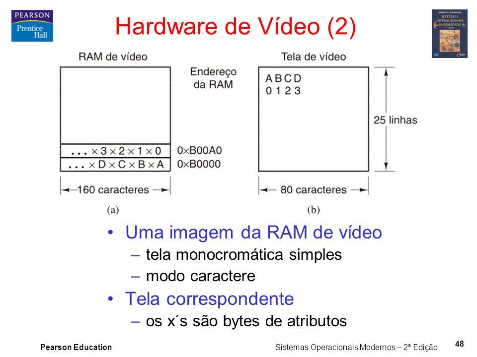 Pearson Education Sistemas Operacionais Modernos – 2ª Edição 48 Hardware de Vídeo (2) Uma imagem da RAM de vídeo –tela monocromática simples –modo car