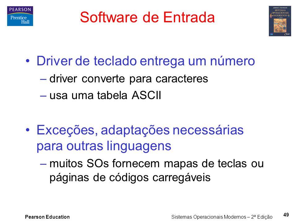 Pearson Education Sistemas Operacionais Modernos – 2ª Edição 49 Software de Entrada Driver de teclado entrega um número –driver converte para caracter