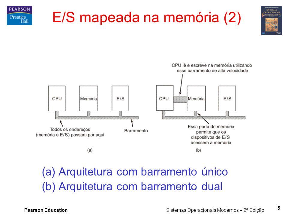 Pearson Education Sistemas Operacionais Modernos – 2ª Edição 5 E/S mapeada na memória (2) (a) Arquitetura com barramento único (b) Arquitetura com bar