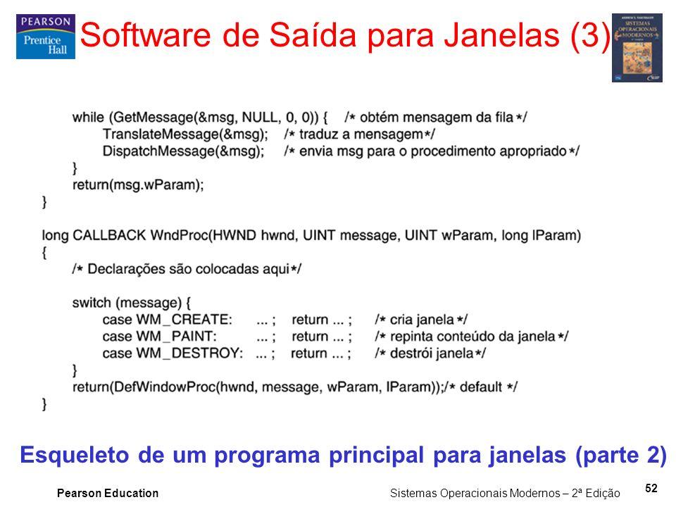 Pearson Education Sistemas Operacionais Modernos – 2ª Edição 52 Software de Saída para Janelas (3) Esqueleto de um programa principal para janelas (pa