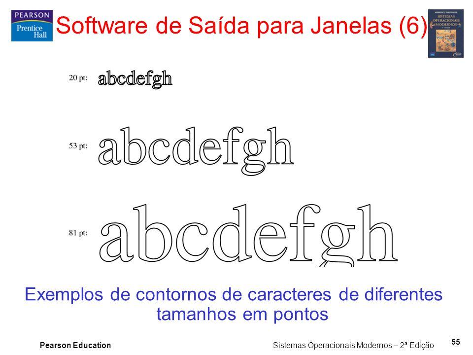 Pearson Education Sistemas Operacionais Modernos – 2ª Edição 55 Software de Saída para Janelas (6) Exemplos de contornos de caracteres de diferentes t