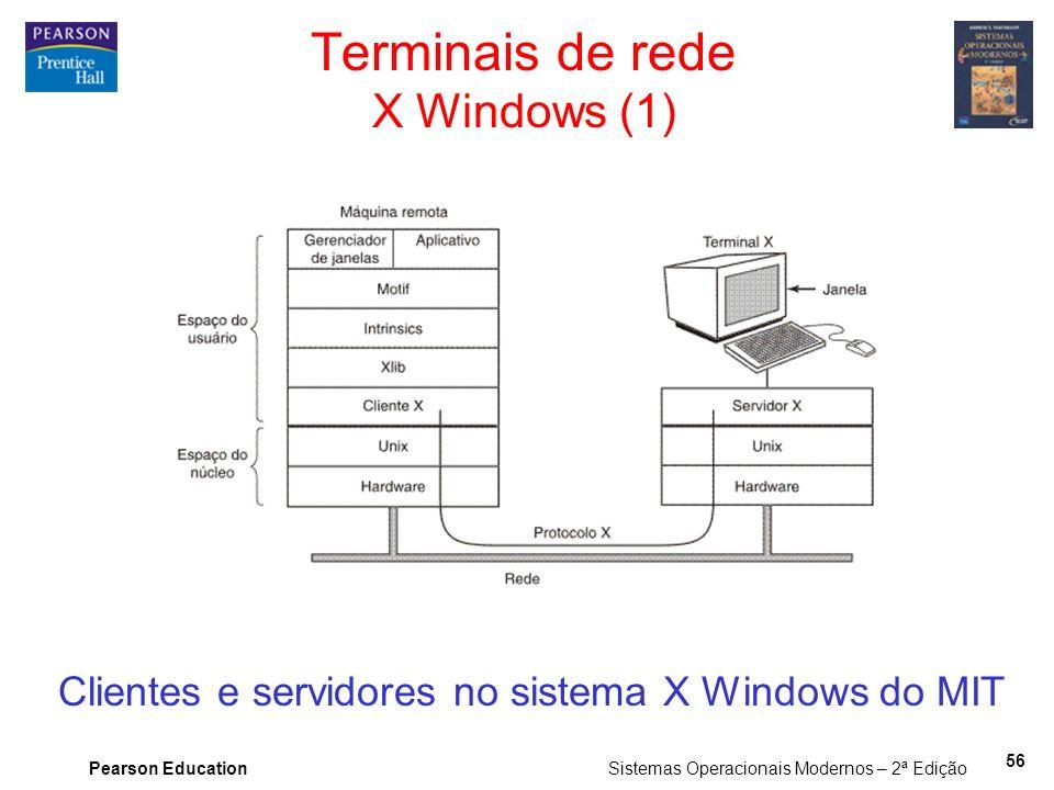 Pearson Education Sistemas Operacionais Modernos – 2ª Edição 56 Terminais de rede X Windows (1) Clientes e servidores no sistema X Windows do MIT