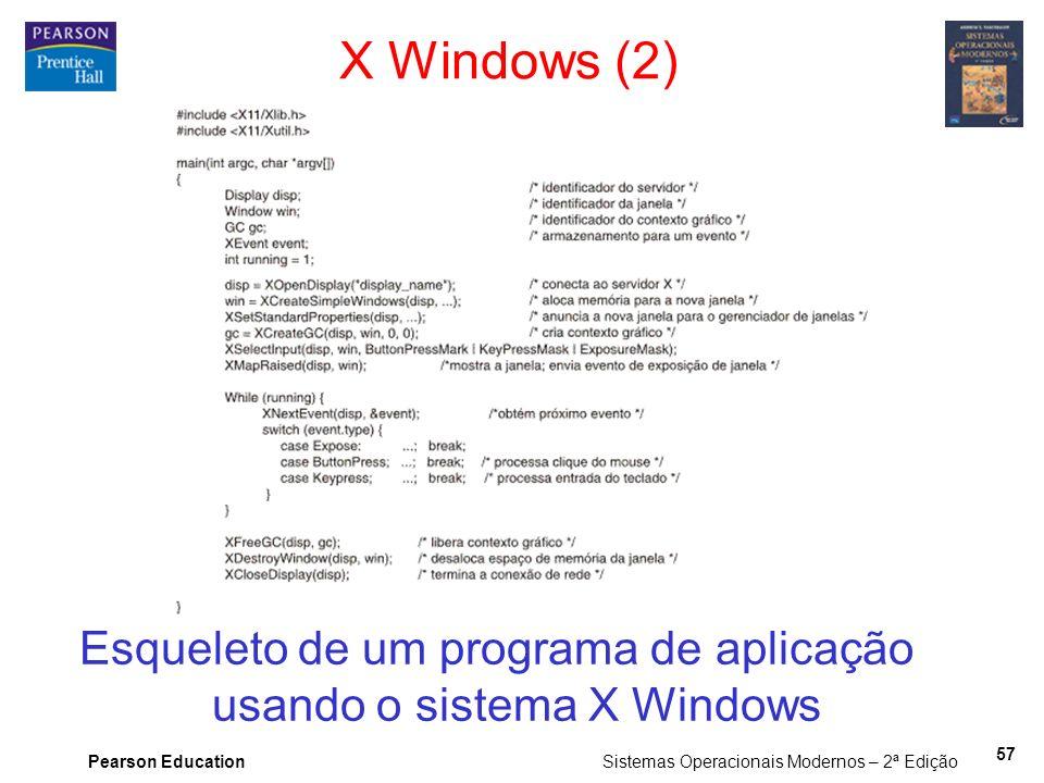 Pearson Education Sistemas Operacionais Modernos – 2ª Edição 57 X Windows (2) Esqueleto de um programa de aplicação usando o sistema X Windows