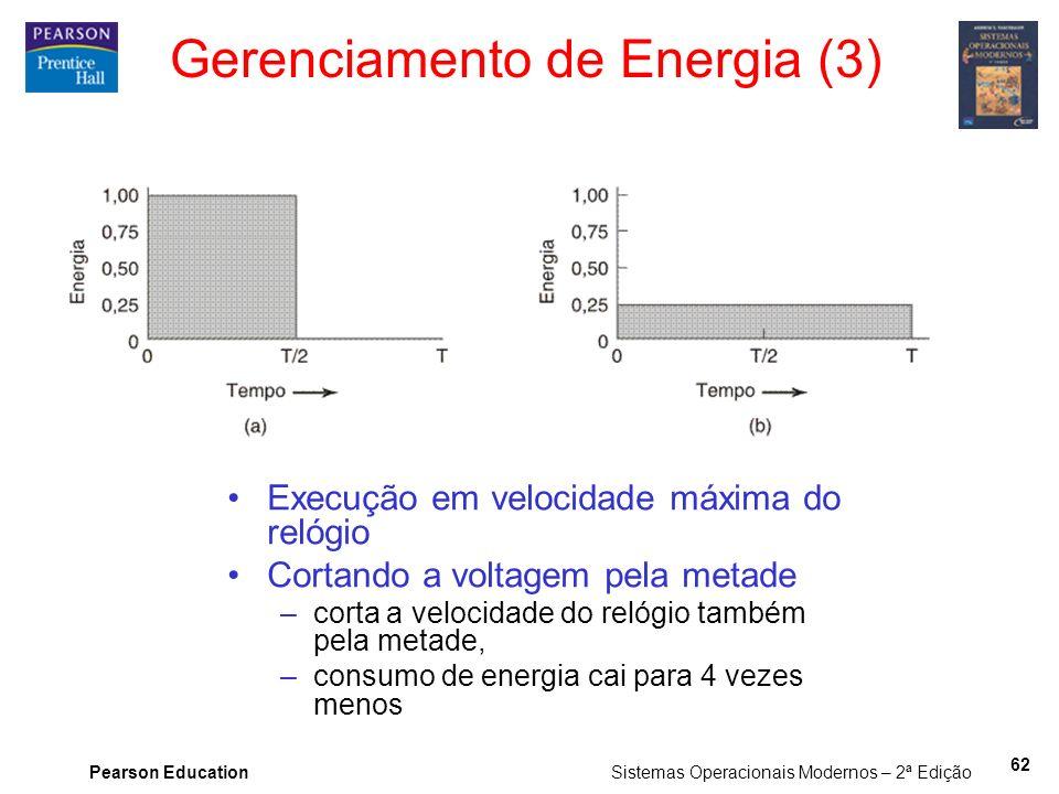 Pearson Education Sistemas Operacionais Modernos – 2ª Edição 62 Gerenciamento de Energia (3) Execução em velocidade máxima do relógio Cortando a volta