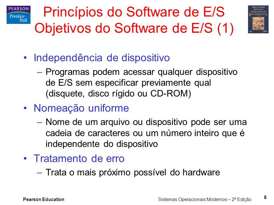 Pearson Education Sistemas Operacionais Modernos – 2ª Edição 8 Princípios do Software de E/S Objetivos do Software de E/S (1) Independência de disposi