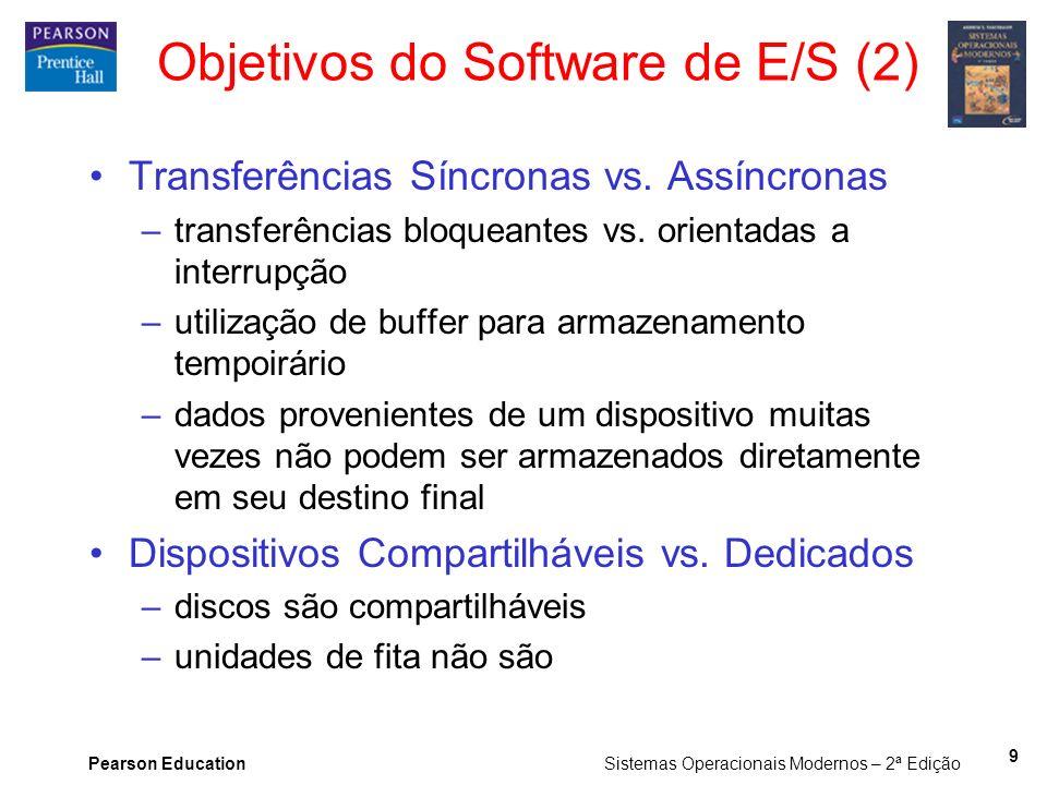 Pearson Education Sistemas Operacionais Modernos – 2ª Edição 9 Objetivos do Software de E/S (2) Transferências Síncronas vs. Assíncronas –transferênci