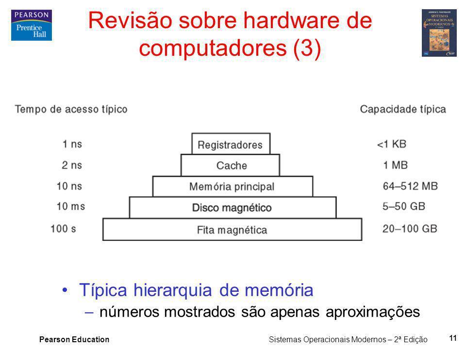 Pearson Education Sistemas Operacionais Modernos – 2ª Edição 11 Revisão sobre hardware de computadores (3) Típica hierarquia de memória –números mostr