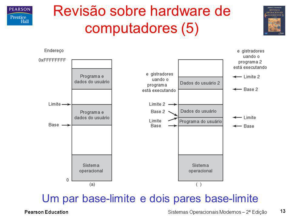 Pearson Education Sistemas Operacionais Modernos – 2ª Edição 13 Revisão sobre hardware de computadores (5) Um par base-limite e dois pares base-limite