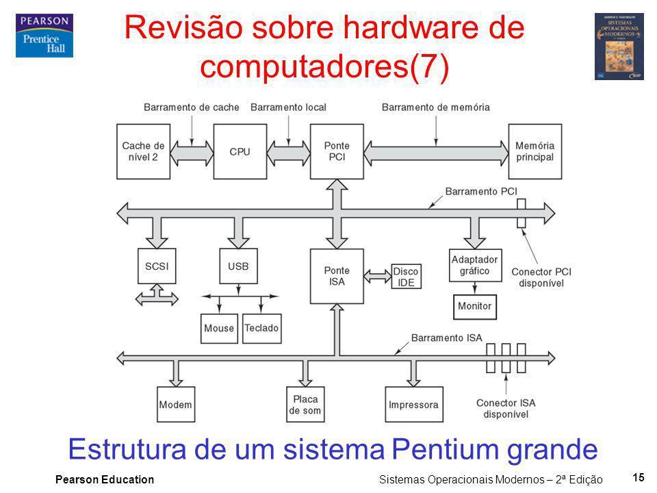 Pearson Education Sistemas Operacionais Modernos – 2ª Edição 15 Revisão sobre hardware de computadores(7) Estrutura de um sistema Pentium grande