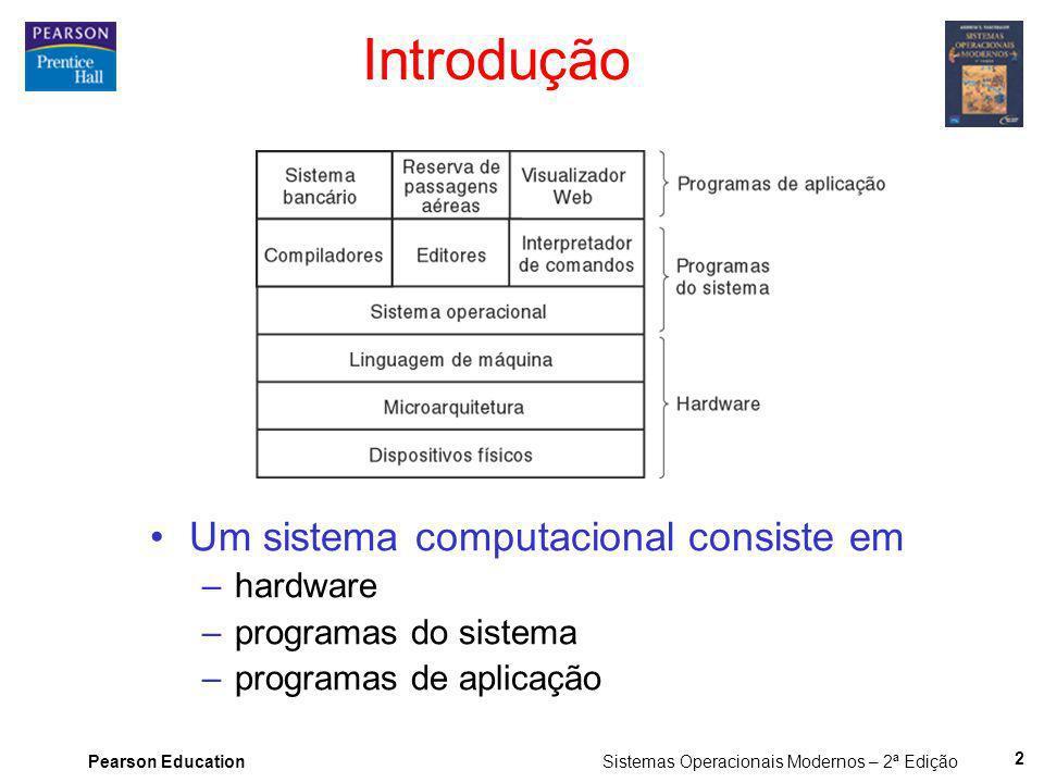 Pearson Education Sistemas Operacionais Modernos – 2ª Edição 2 Introdução Um sistema computacional consiste em –hardware –programas do sistema –progra