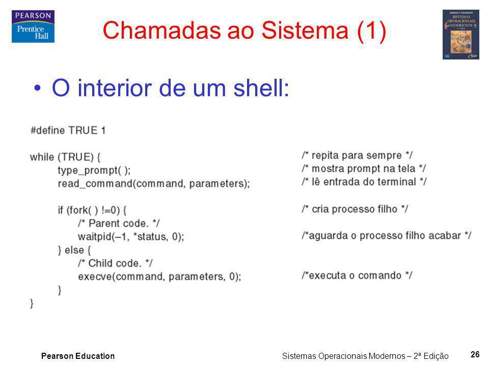 Pearson Education Sistemas Operacionais Modernos – 2ª Edição 26 Chamadas ao Sistema (1) O interior de um shell: