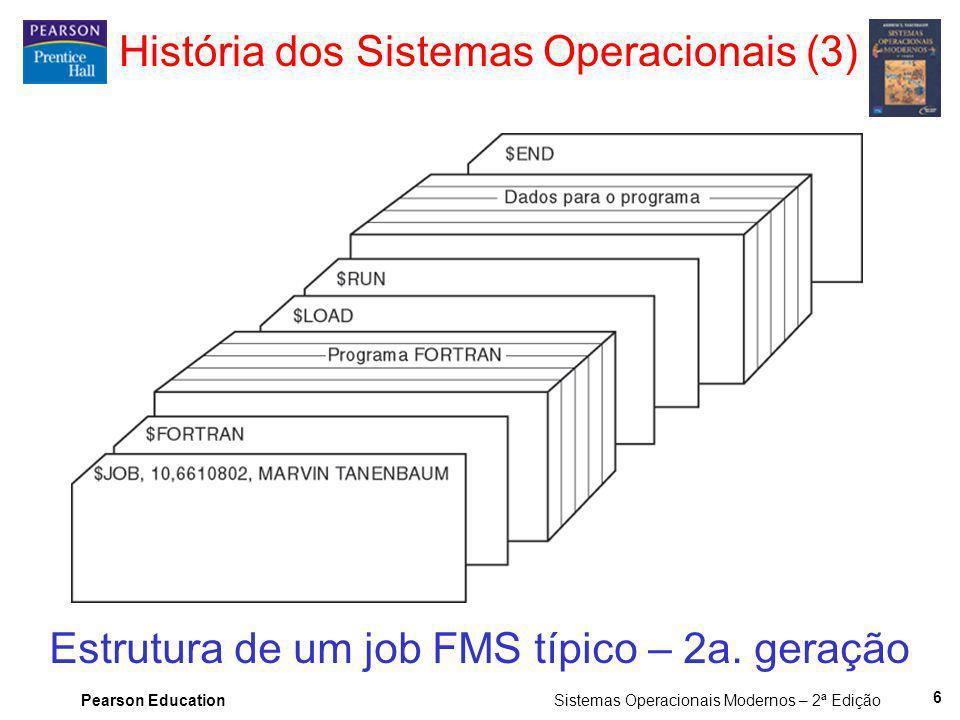 Pearson Education Sistemas Operacionais Modernos – 2ª Edição 6 Estrutura de um job FMS típico – 2a. geração História dos Sistemas Operacionais (3)