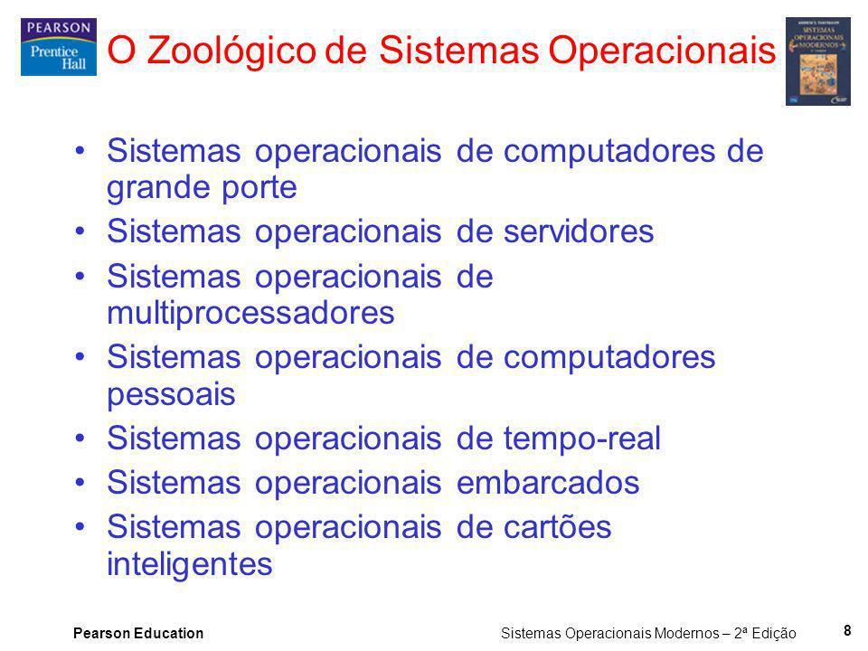 Pearson Education Sistemas Operacionais Modernos – 2ª Edição 8 O Zoológico de Sistemas Operacionais Sistemas operacionais de computadores de grande po