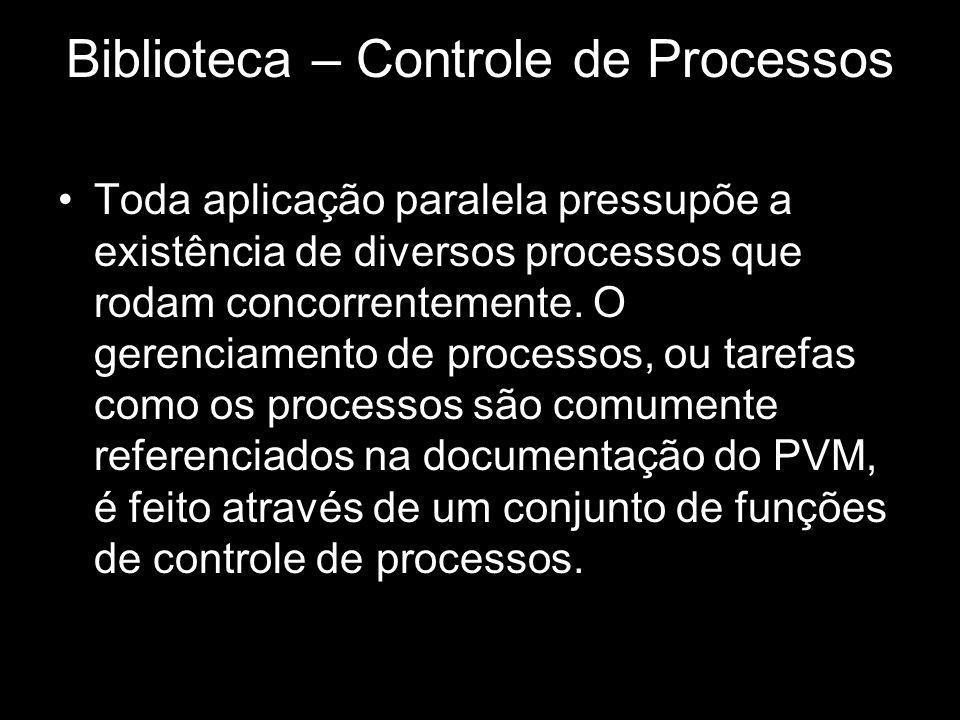 Biblioteca – Controle de Processos Toda aplicação paralela pressupõe a existência de diversos processos que rodam concorrentemente. O gerenciamento de