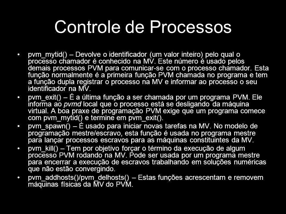 Controle de Processos pvm_mytid() – Devolve o identificador (um valor inteiro) pelo qual o processo chamador é conhecido na MV. Este número é usado pe