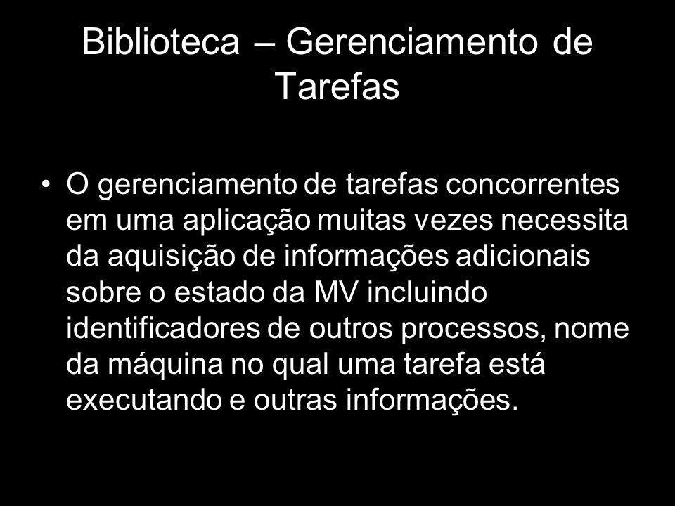 Biblioteca – Gerenciamento de Tarefas O gerenciamento de tarefas concorrentes em uma aplicação muitas vezes necessita da aquisição de informações adic