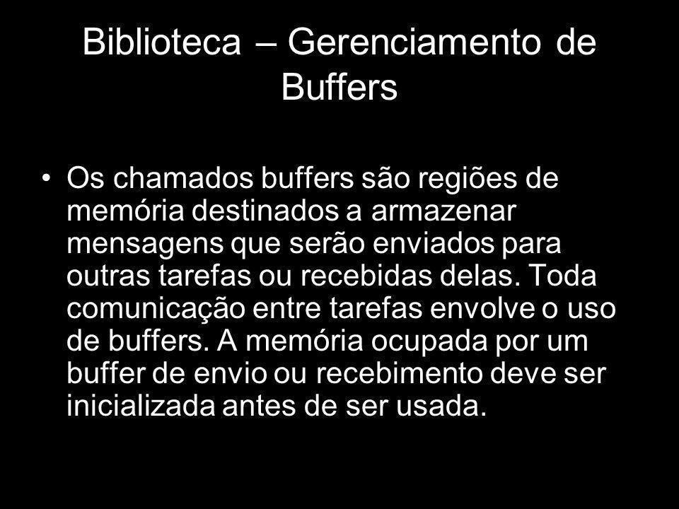 Biblioteca – Gerenciamento de Buffers Os chamados buffers são regiões de memória destinados a armazenar mensagens que serão enviados para outras taref