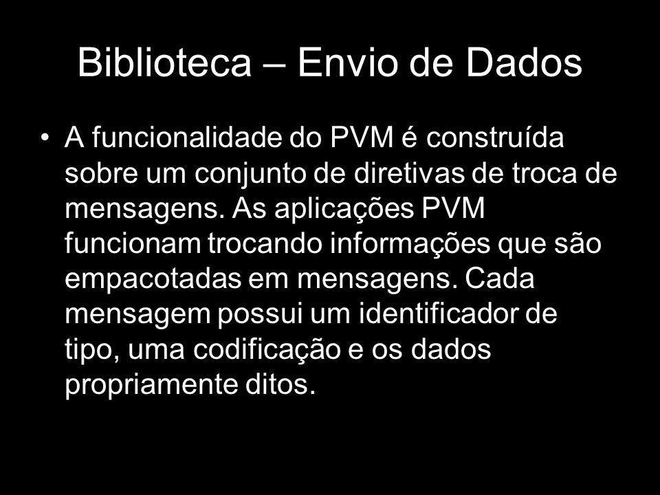 Biblioteca – Envio de Dados A funcionalidade do PVM é construída sobre um conjunto de diretivas de troca de mensagens. As aplicações PVM funcionam tro