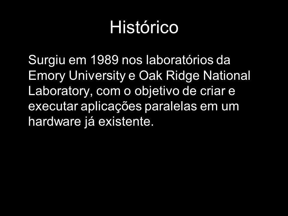 Histórico Surgiu em 1989 nos laboratórios da Emory University e Oak Ridge National Laboratory, com o objetivo de criar e executar aplicações paralelas