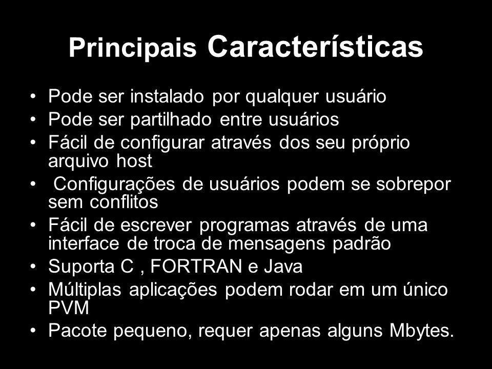 Principais Características Pode ser instalado por qualquer usuário Pode ser partilhado entre usuários Fácil de configurar através dos seu próprio arqu