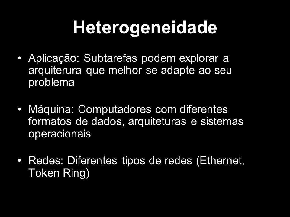 Heterogeneidade Aplicação: Subtarefas podem explorar a arquiterura que melhor se adapte ao seu problema Máquina: Computadores com diferentes formatos