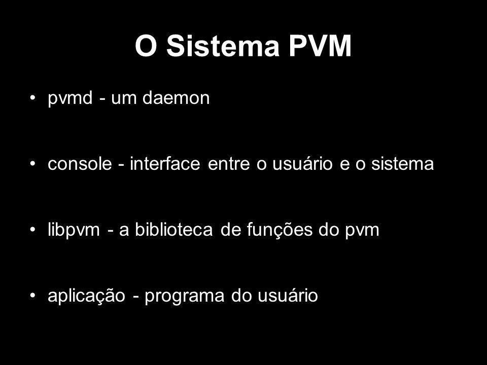 Exemplo 1 - Mestre main() { int cc, tid, msgtag; char buf[100]; printf( i m t%x\n , pvm_mytid()); cc = pvm_spawn( hello_other , (char**)0, 0, , 1, &tid); if (cc == 1) { msgtag = 1; pvm_recv(tid, msgtag); pvm_upkstr(buf); printf( from t%x: %s\n , tid, buf); } else printf( can t start hello_other\n ); pvm_exit(); }